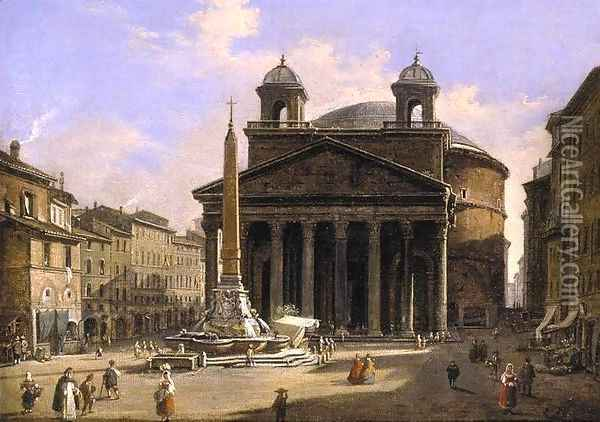 View of the Pantheon Rome Oil Painting - Ippolito Caffi