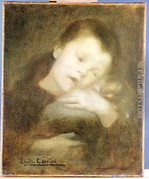 Child with a Doll, 1886 Oil Painting - Eugene Carriere