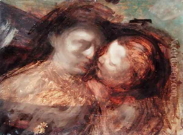 Mother and Child, late 1890s Oil Painting - Eugene Carriere