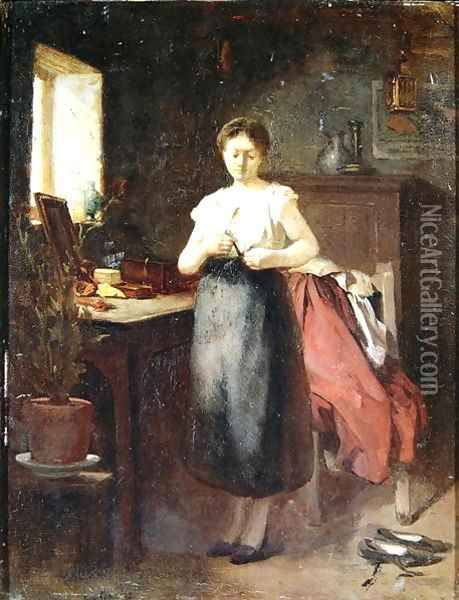 Woman in an Interior Oil Painting - Eugene Carriere