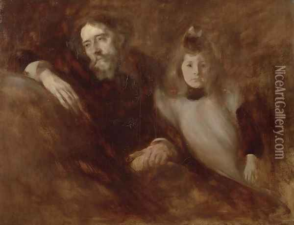 Portrait of Alphonse Daudet (1840-97) and his daughter Edmee, 1891 Oil Painting - Eugene Carriere