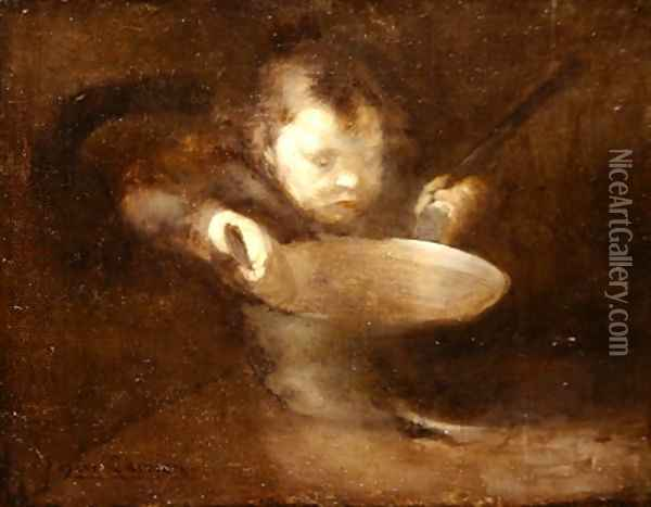 Child at the saucepan Oil Painting - Eugene Carriere