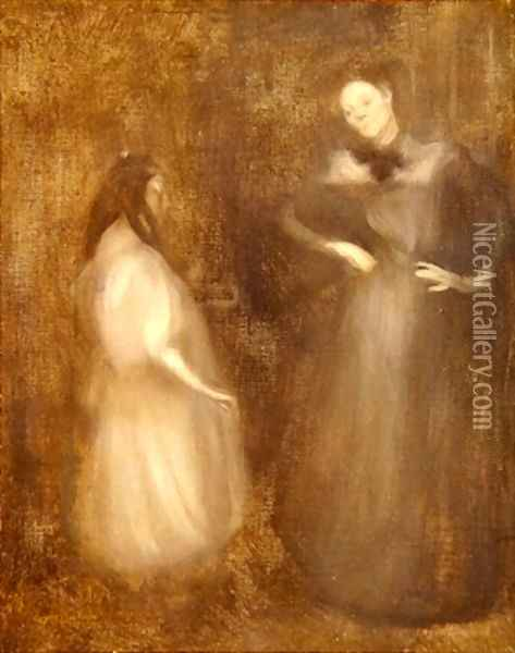 Mother and daughter the violin lesson Oil Painting - Eugene Carriere