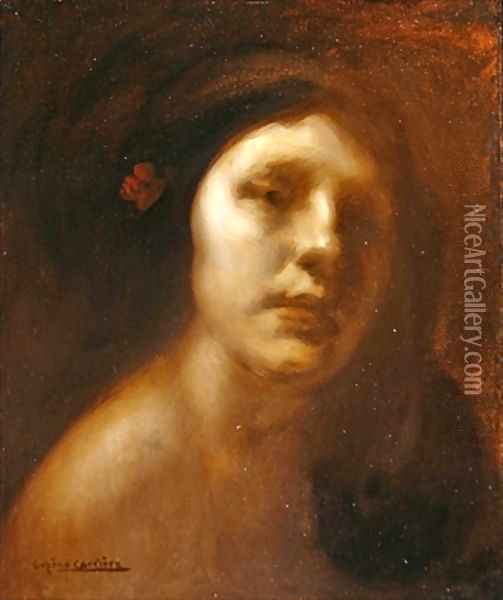 Portrait of a Young Lady Oil Painting - Eugene Carriere