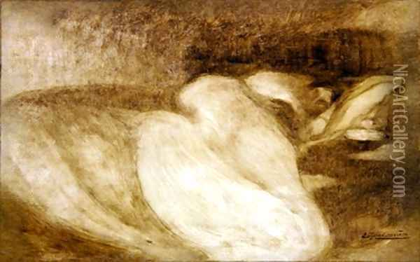 Sleeping woman Oil Painting - Eugene Carriere