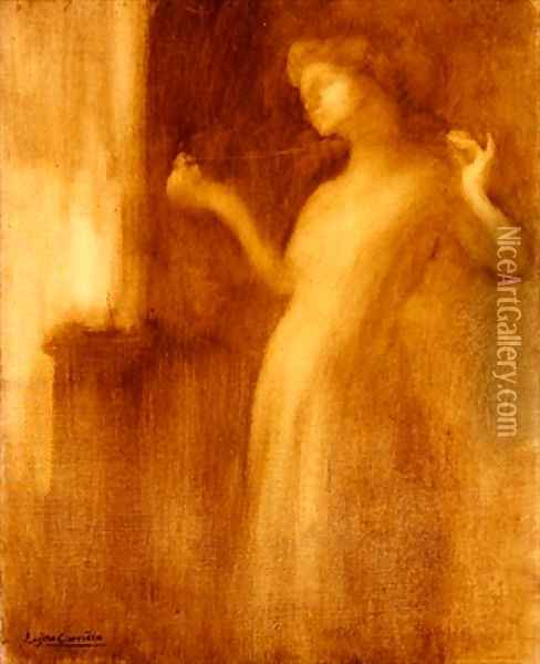 The Spinster or The Broken Necklace Oil Painting - Eugene Carriere