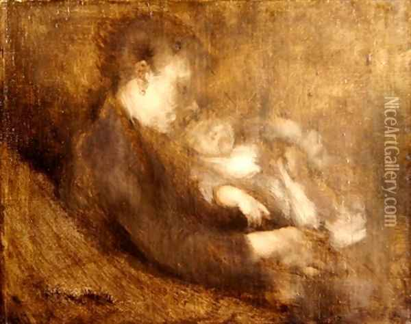 Woman and Child Oil Painting - Eugene Carriere
