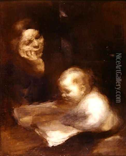 Mother and Child reading Oil Painting - Eugene Carriere