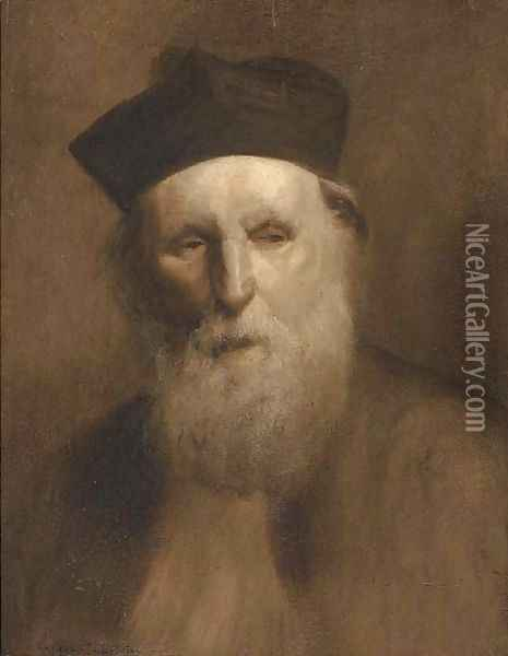 Portrait of a priest, bust-length, in traditional hat and robes Oil Painting - Eugene Carriere