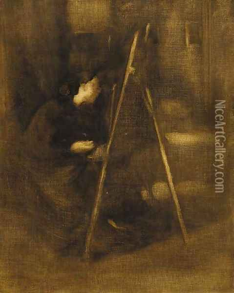 An artist at her easel Oil Painting - Eugene Carriere