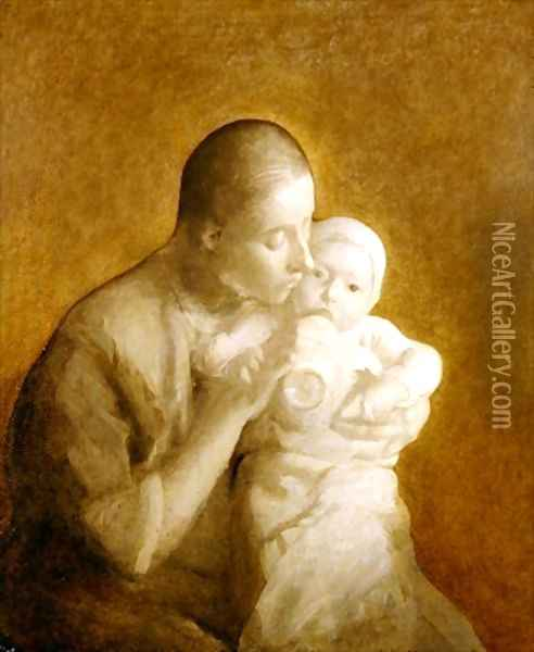 Mother and Child 2 Oil Painting - Eugene Carriere