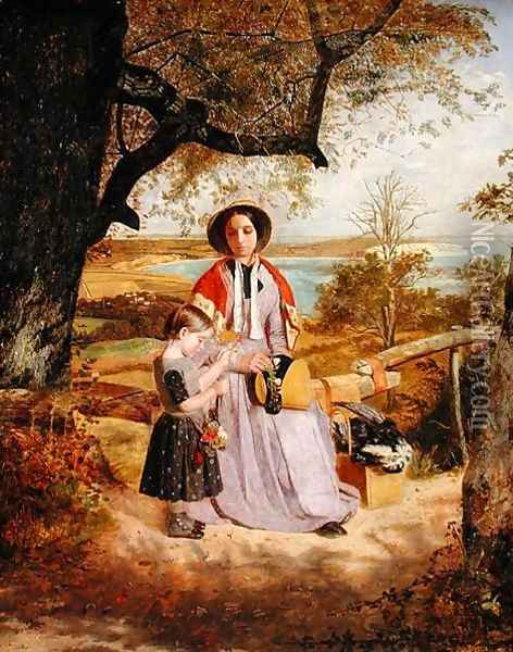 Mother and Child by a Stile, with Culver Cliff, Isle of Wight, in the distance c.1849-50 Oil Painting - James Collinson