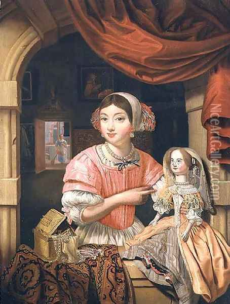 Girl holding a doll in an interior with a maid sweeping behind Oil Painting - Edwart Collier
