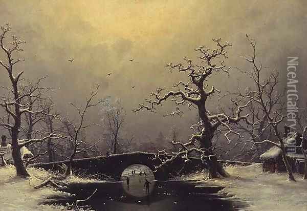 Skaters in a frozen winter landscape Oil Painting - Nils Hans Christiansen