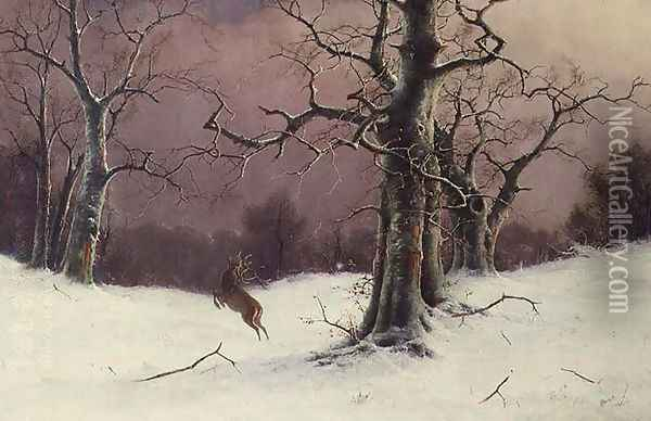 The Deer Hunt Oil Painting - Nils Hans Christiansen