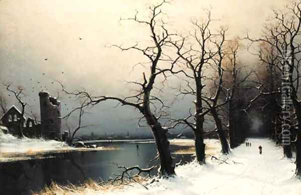 Figures on a snow covered track in a wooded river landscape Oil Painting - Nils Hans Christiansen
