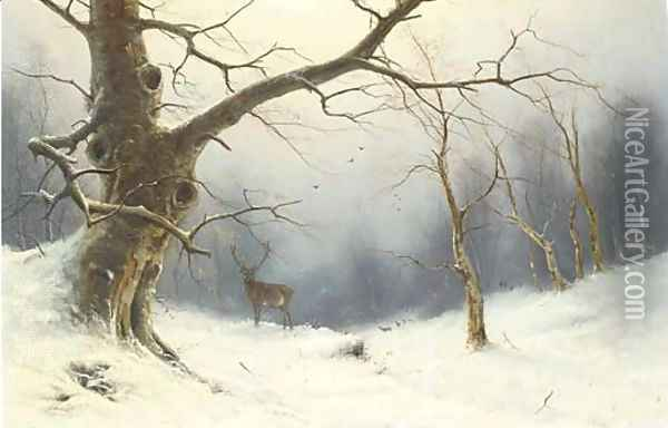 A stag in a winter landscape Oil Painting - Nils Hans Christiansen
