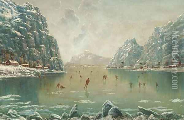 Figures skating on a frozen fjord Oil Painting - Nils Hans Christiansen