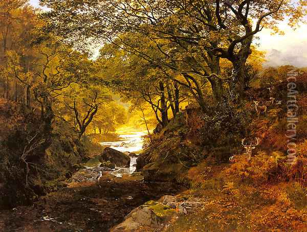 Deer In A Woodland Glade Oil Painting - George Vicat Cole
