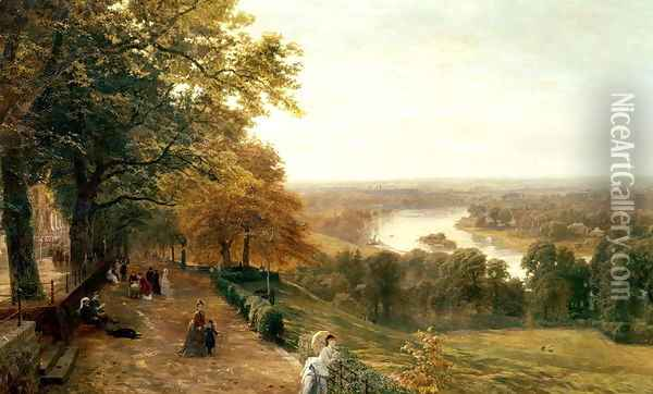 Richmond Hill London Oil Painting - George Vicat Cole
