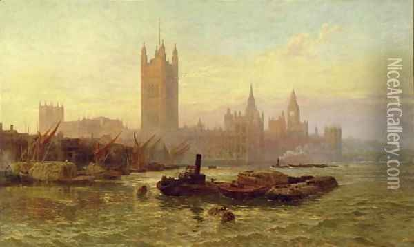 The Palace of Westminster, 1892 Oil Painting - George Vicat Cole