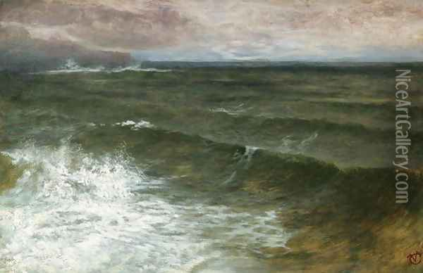 Lannacombe Bay Start Point in the Distance Oil Painting - George Vicat Cole