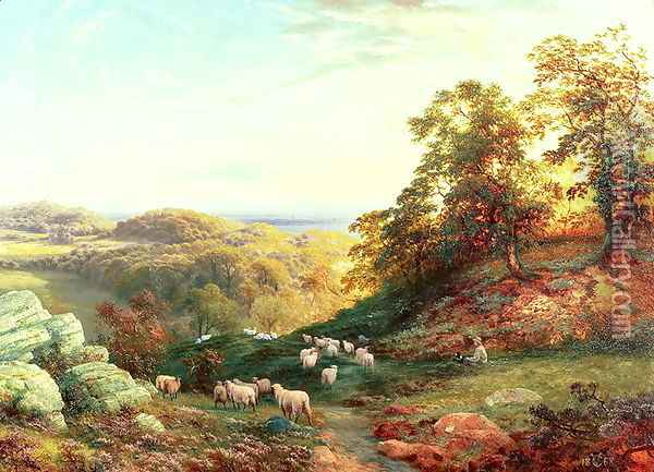 Watching the Flock Oil Painting - George Vicat Cole