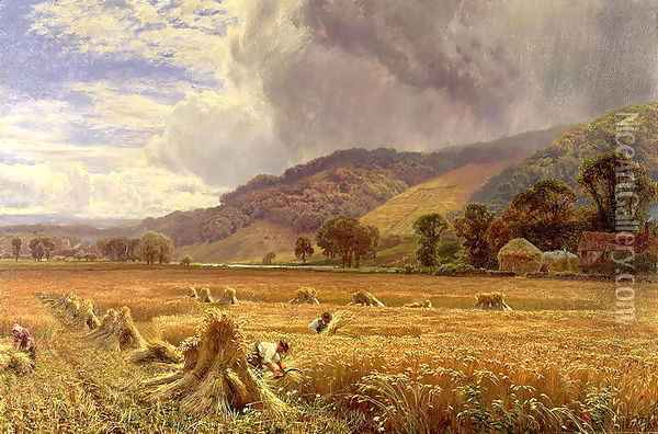 Landscape: Harvesting in the Thames Valley Oil Painting - George Vicat Cole