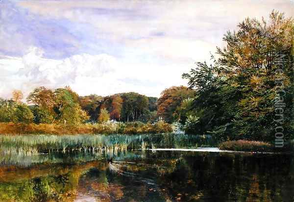 The Mill Pond, Evelyn Woods, 1860 Oil Painting - George Vicat Cole