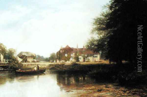 The Swan at Pangbourne 2 Oil Painting - George Vicat Cole