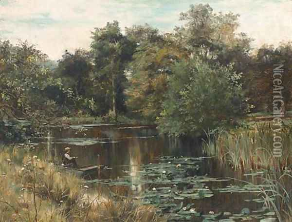 Fishing from a punt Oil Painting - George Vicat Cole
