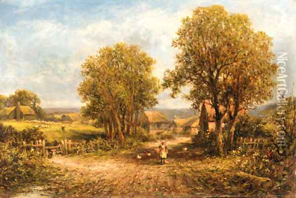 Feeding the chickens on a village path Oil Painting - George Vicat Cole