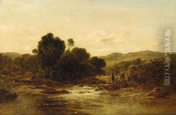 An angler in a rocky river landscape Oil Painting - George Vicat Cole