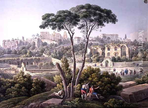 View of the Palatine Hill in Rome, with the ruins of the Palace of the Cesars in the background, c.1800 Oil Painting - Louis Francois Cassas