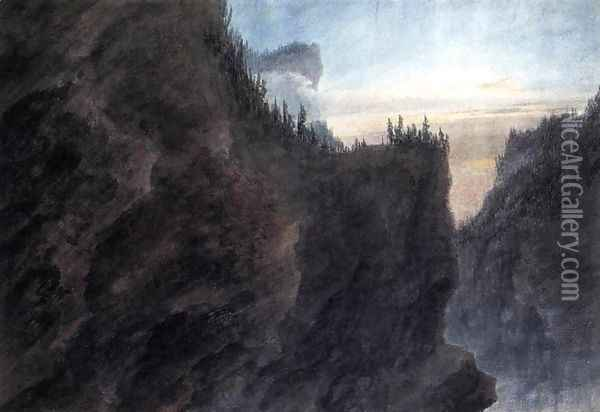 Entrance to the Valley of Grande Chartreuse in Dauphiné 1783 Oil Painting - John Robert Cozens