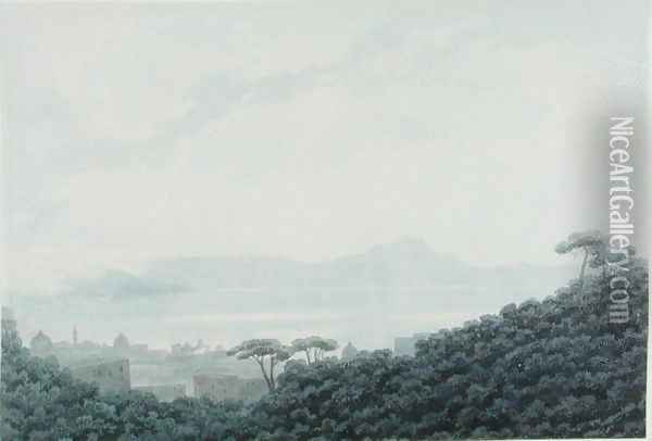 The Bay of Naples from Capodimonte, Italy, c.1790 Oil Painting - John Robert Cozens