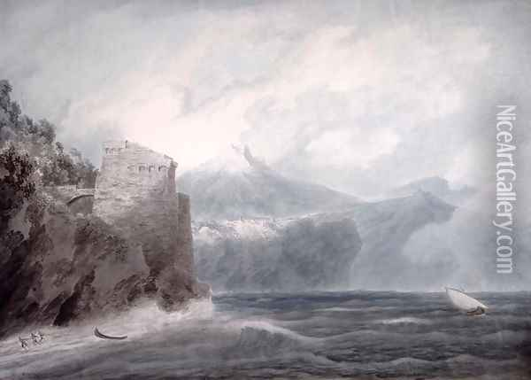 The Castle of Salerno, near Cetara Oil Painting - John Robert Cozens