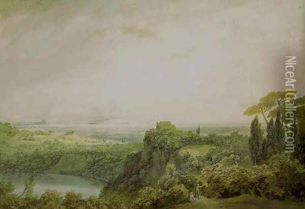 Lake Nemi, Looking towards Genzano Oil Painting - John Robert Cozens