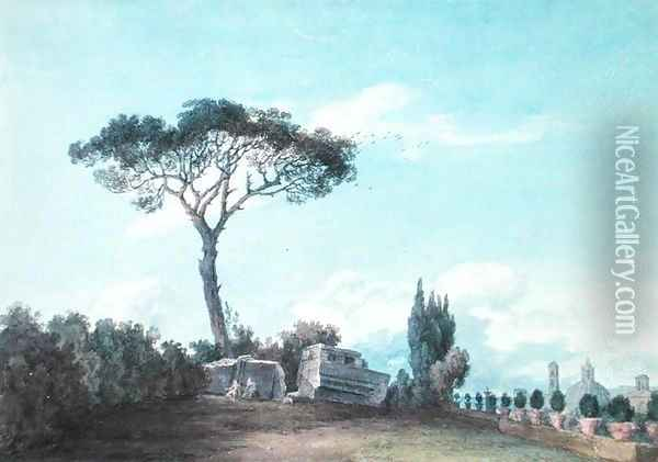 In the Gardens of the Colonna Palace, Rome Oil Painting - John Robert Cozens