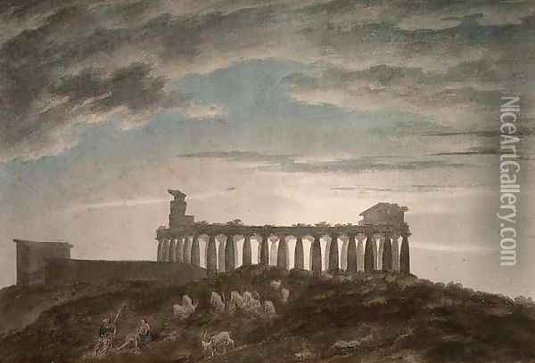 The Small Temple at Paestum Oil Painting - John Robert Cozens