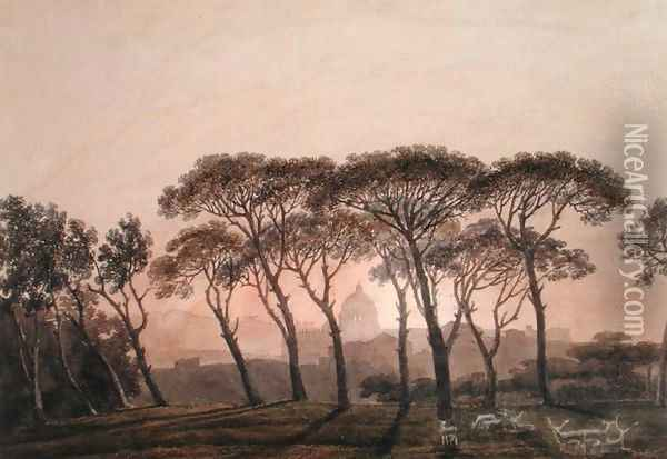 St. Peter's from the Villa Borghese, Rome Oil Painting - John Robert Cozens