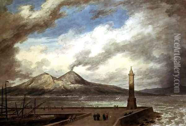 Vesuvius and Somma from the Mole at Naples Oil Painting - John Robert Cozens