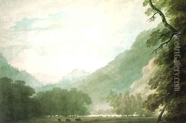 View from the Road between Lake Thun and Unterseen Oil Painting - John Robert Cozens