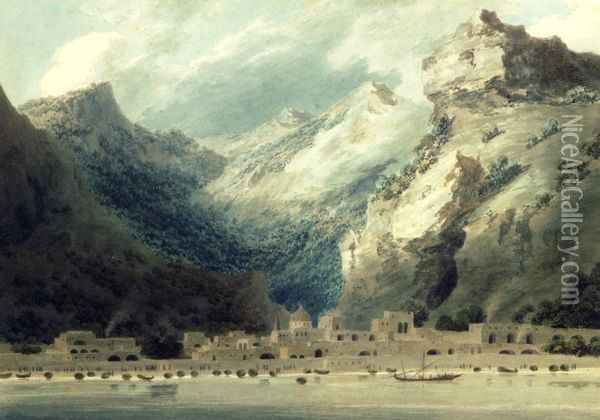 Cetera, a Fishing Town on the Gulf of Salerno, 1882 Oil Painting - John Robert Cozens