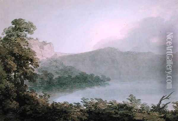Lake of Vico Between Rome and Florence, 1783 Oil Painting - John Robert Cozens