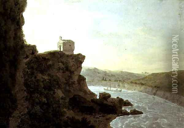 View on the Tiber near Ponte Molle, three miles from Rome, 1780 Oil Painting - John Robert Cozens