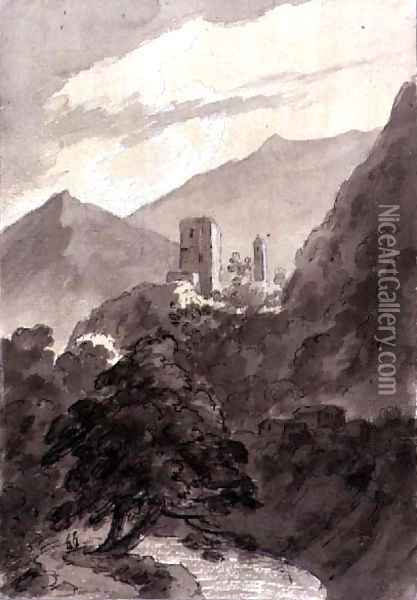 In the Grisons Oil Painting - John Robert Cozens