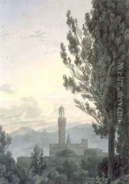 The Palazzo Vecchio from the Boboli Gardens, Florence Oil Painting - John Robert Cozens