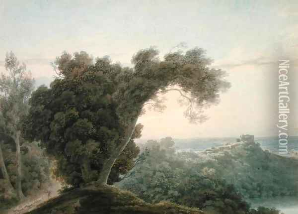 From the Road Between Caserta and the Aqueduct Oil Painting - John Robert Cozens