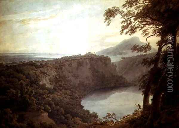 The Lake of Nemi and the town of Genzano Oil Painting - John Robert Cozens